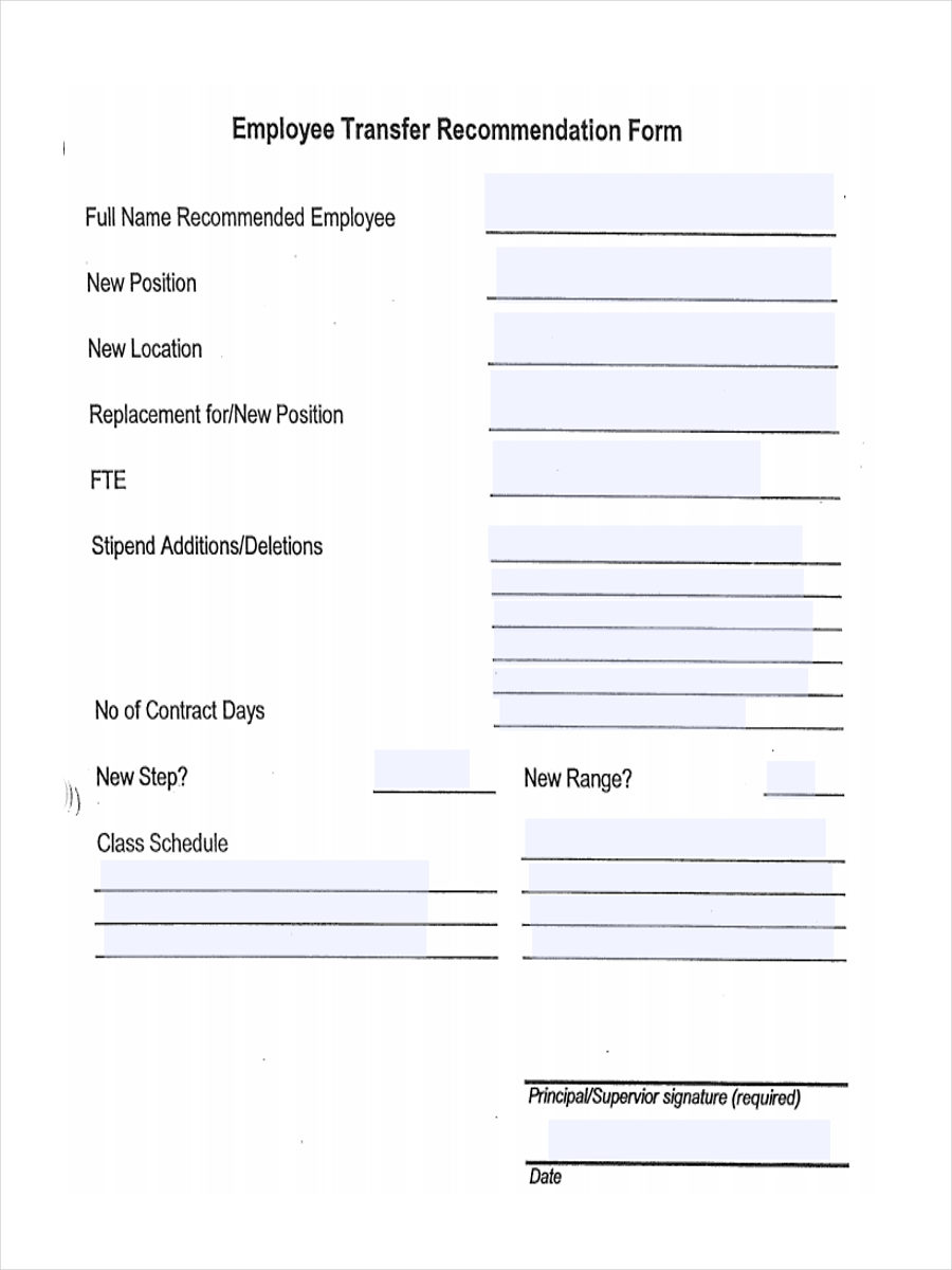 FREE 7+ Employee Transfer Form Samples in Sample, Example