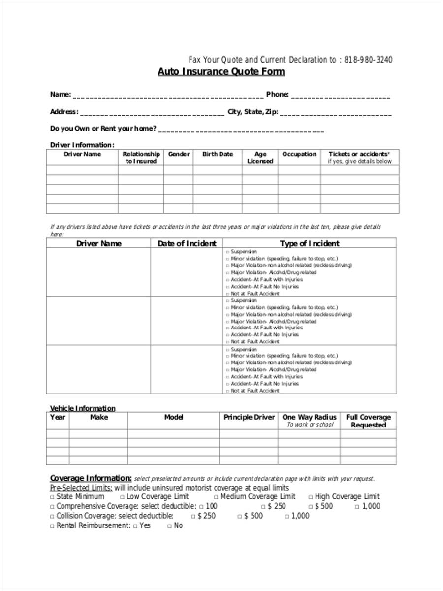 Free 9 Insurance Quote Forms In Pdf