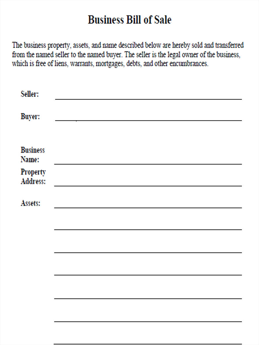 6+ Business Bill Of Sale Form Sample - Free Sample, Example Format ...