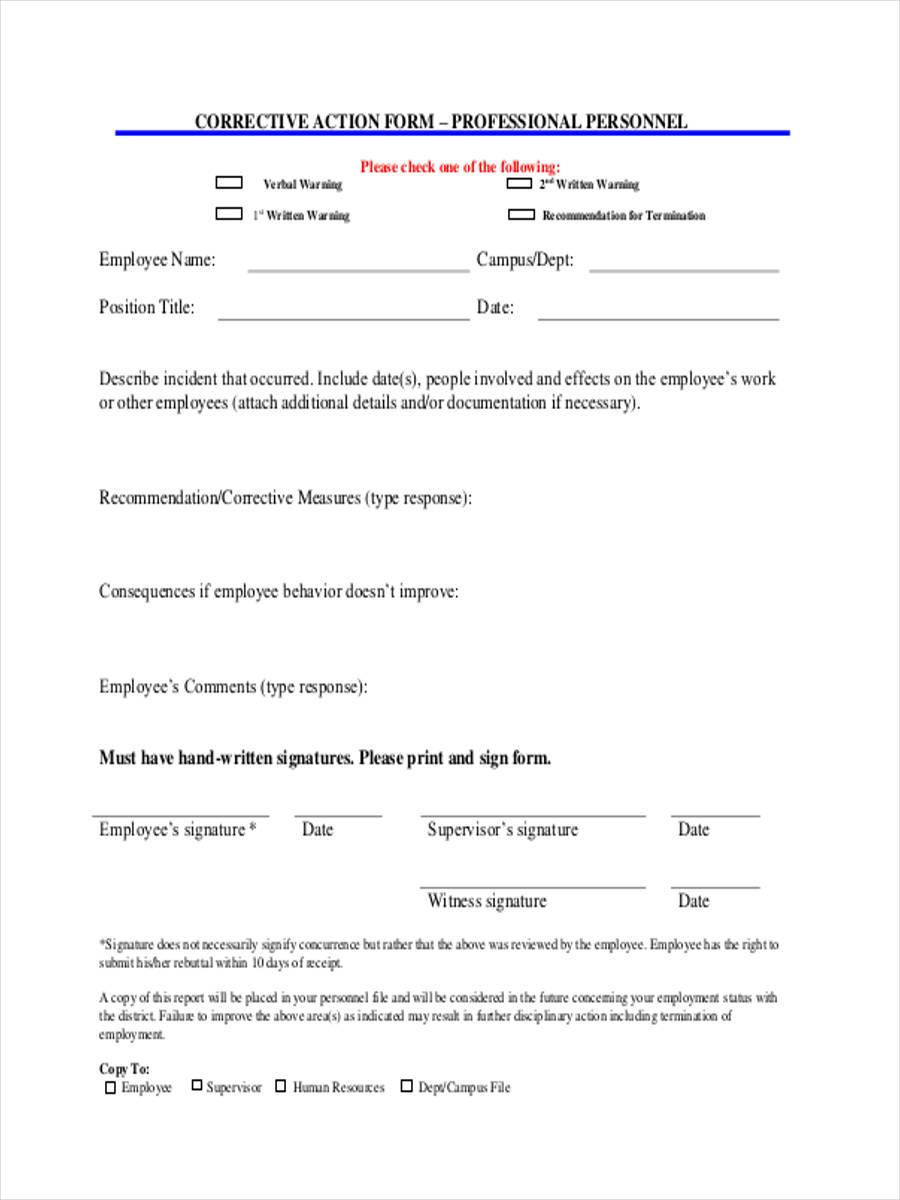 Blank Employee Corrective Action