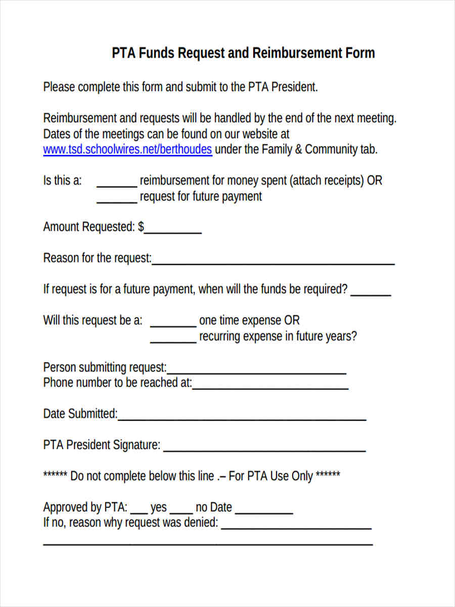 Pta Check Request Form