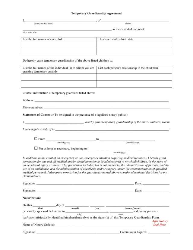 Temporary guardianship form free download champlain for Temporary power of attorney template