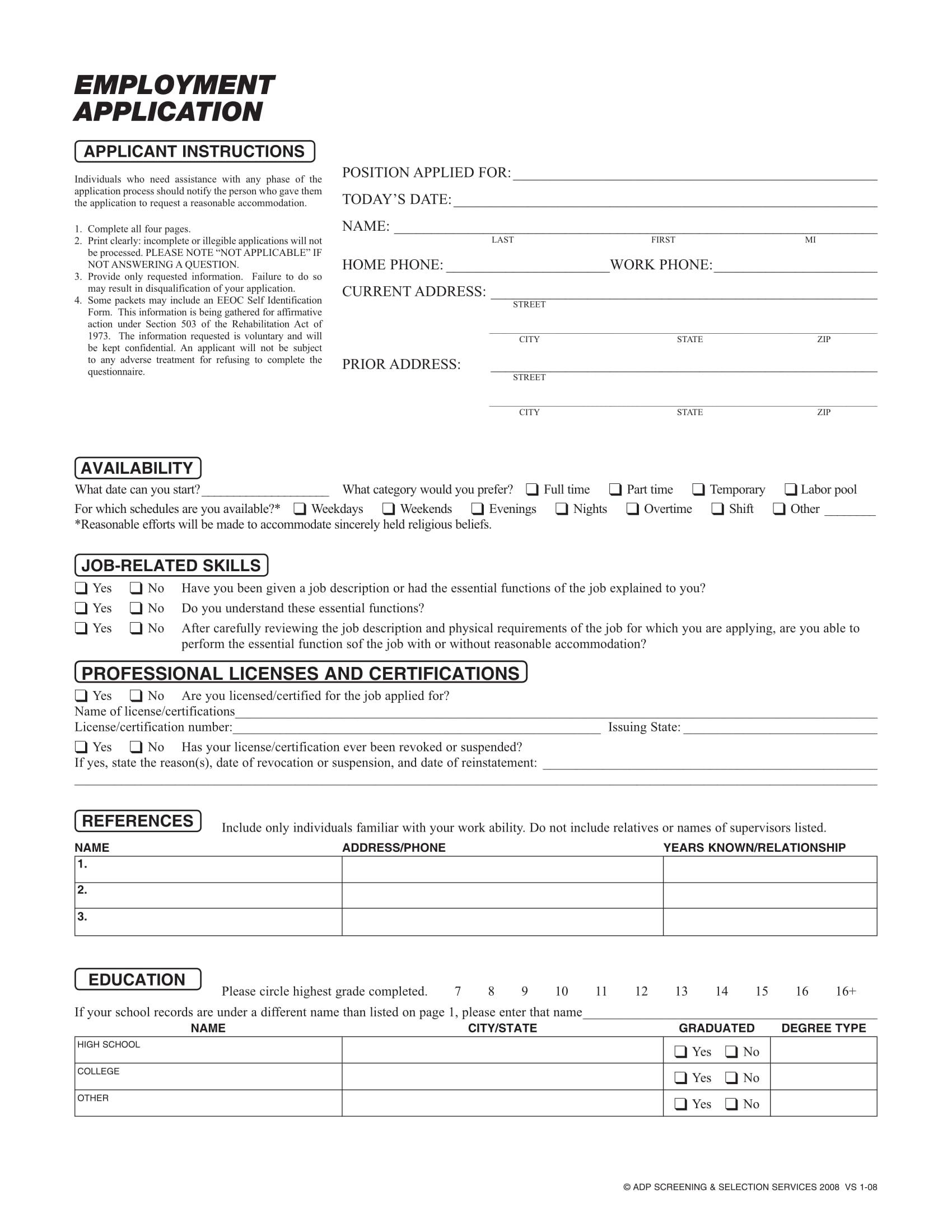 Employment Application Form Sample