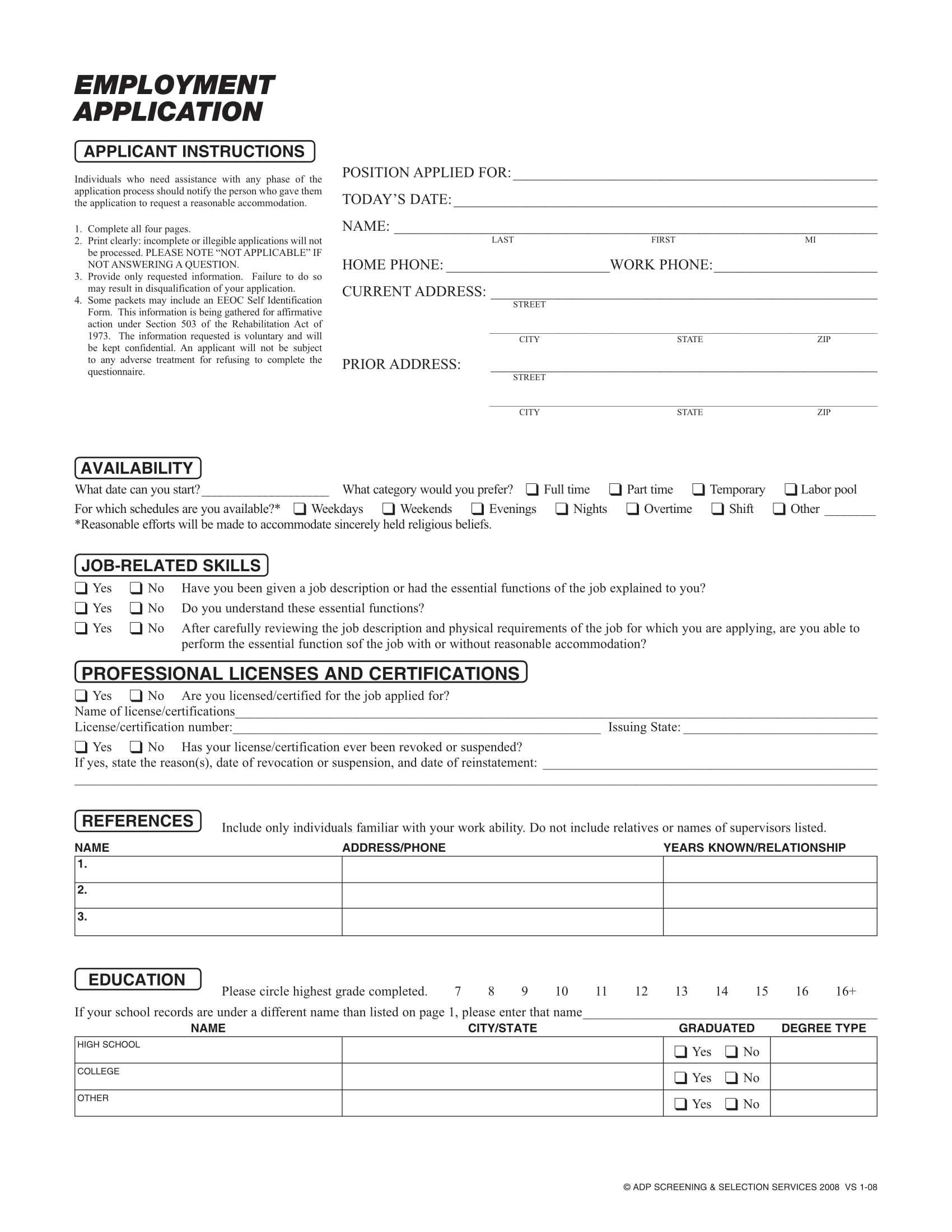 Free 20 Kinds Of Application Forms Pdf