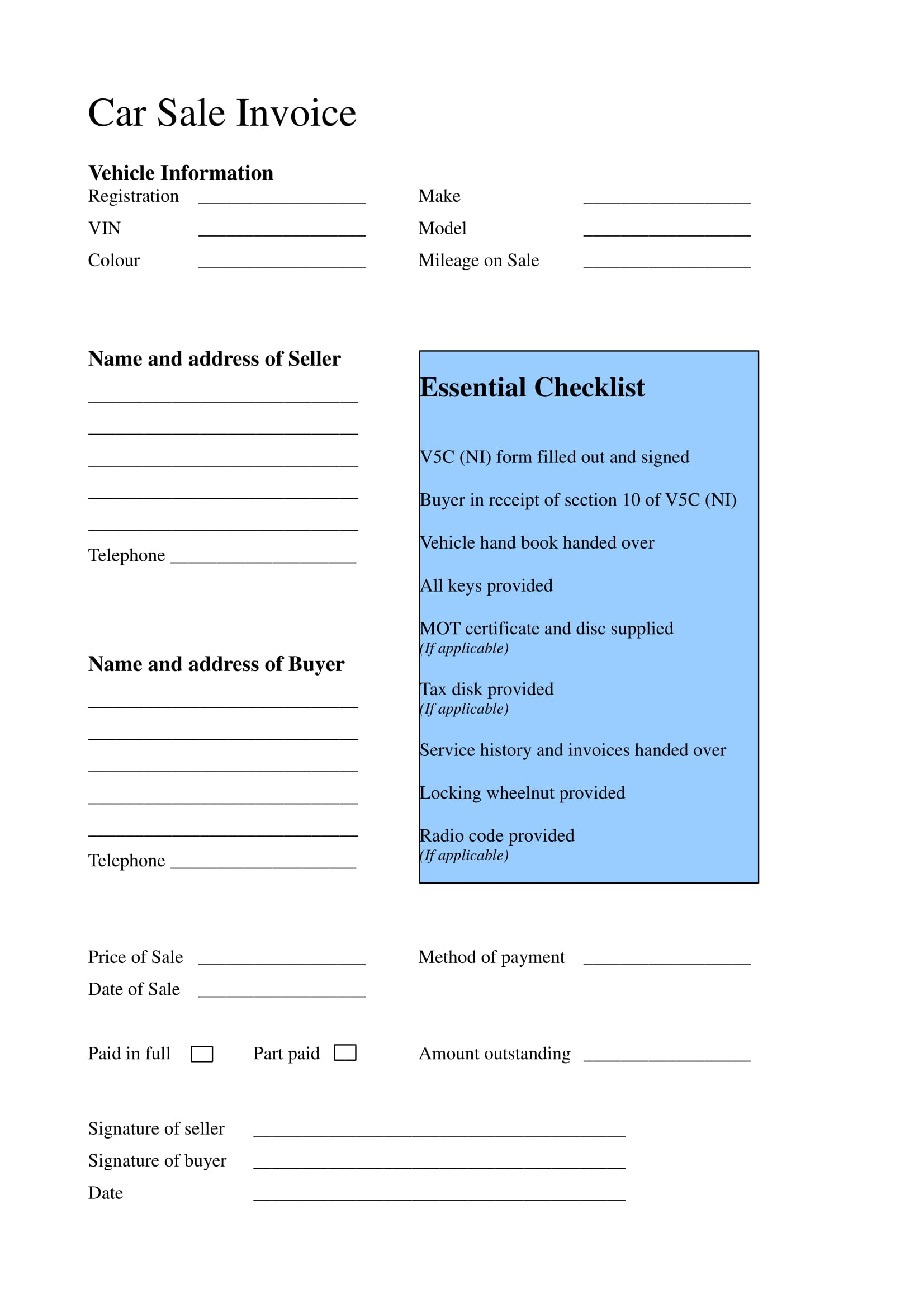 Free 15 Business Forms For Car Dealers In