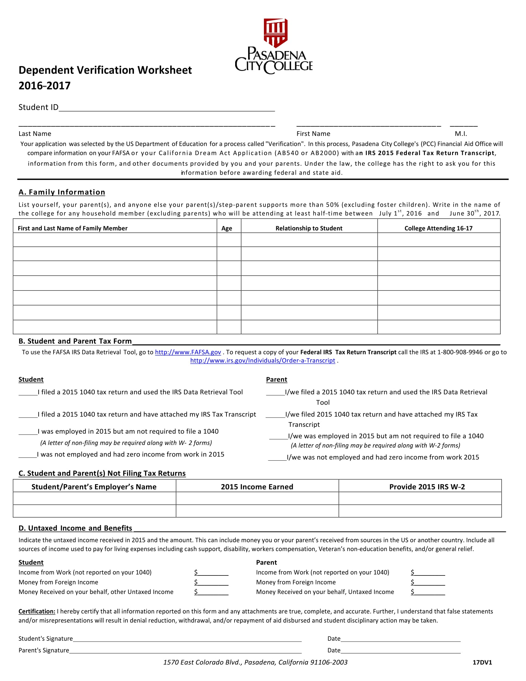 Dependent Student Non Tax Filer Verification Form