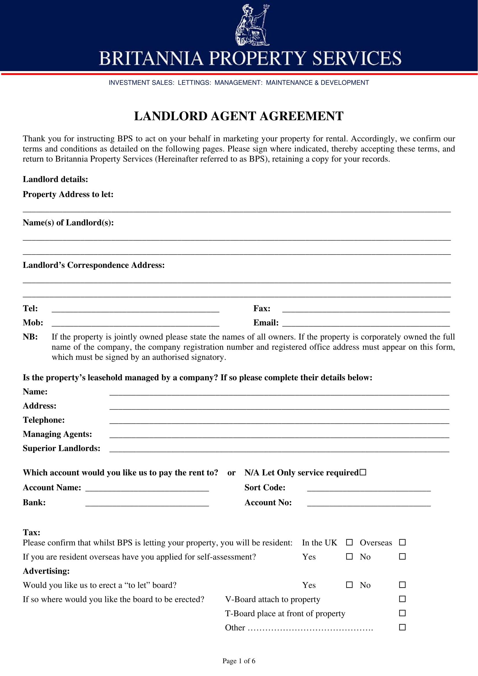 Landlord Agent Agreement Form 1
