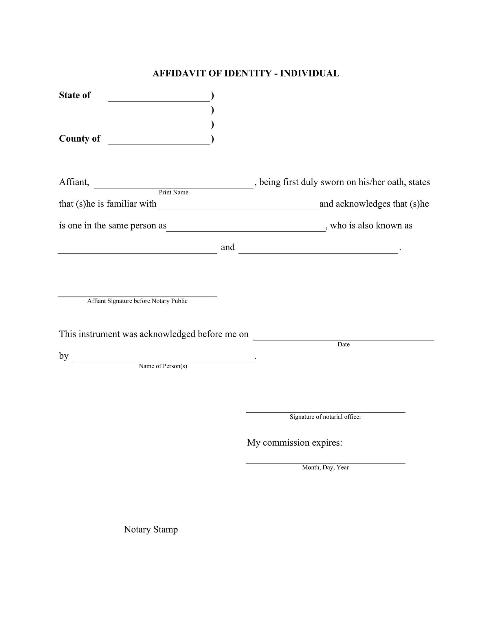 FREE 8+ Affidavit of Identity Forms in PDF