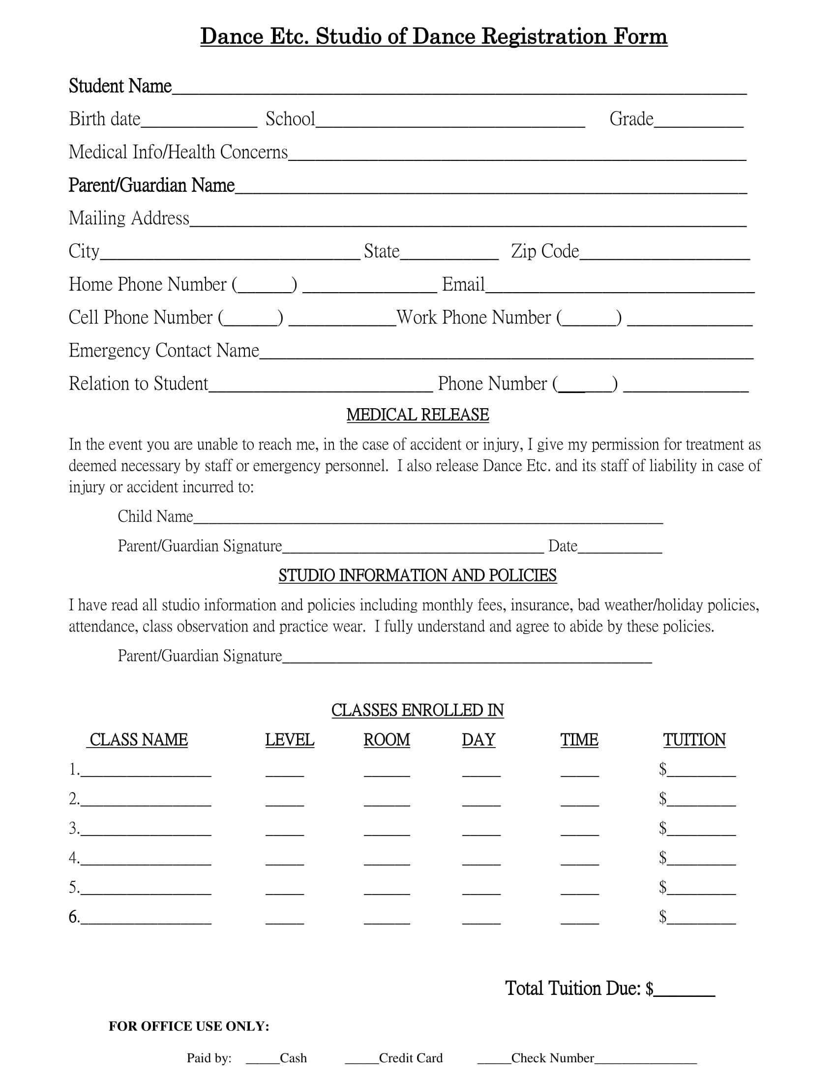 Free 10 Dance Registration Forms In