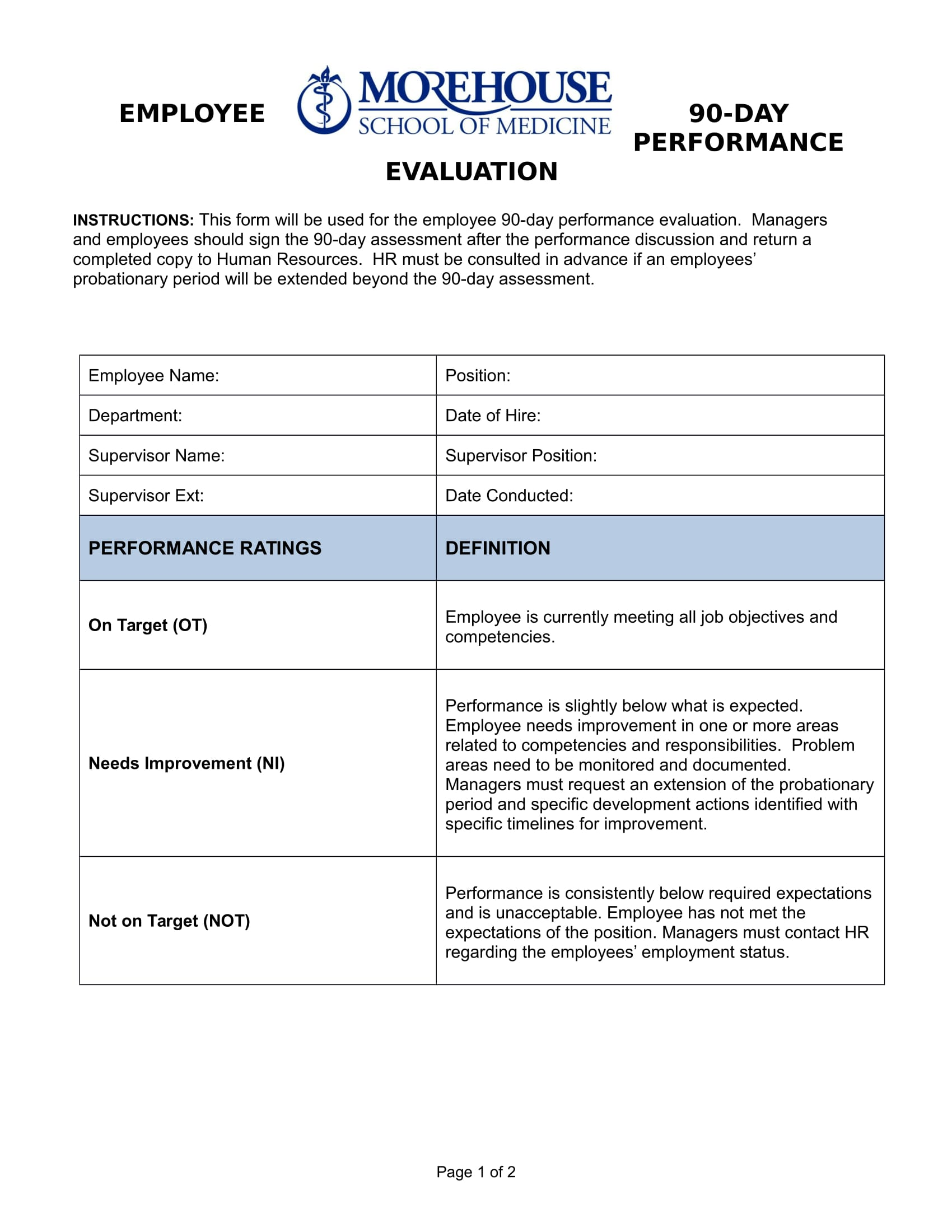 90 Day Staff Performance Evaluation Form 1