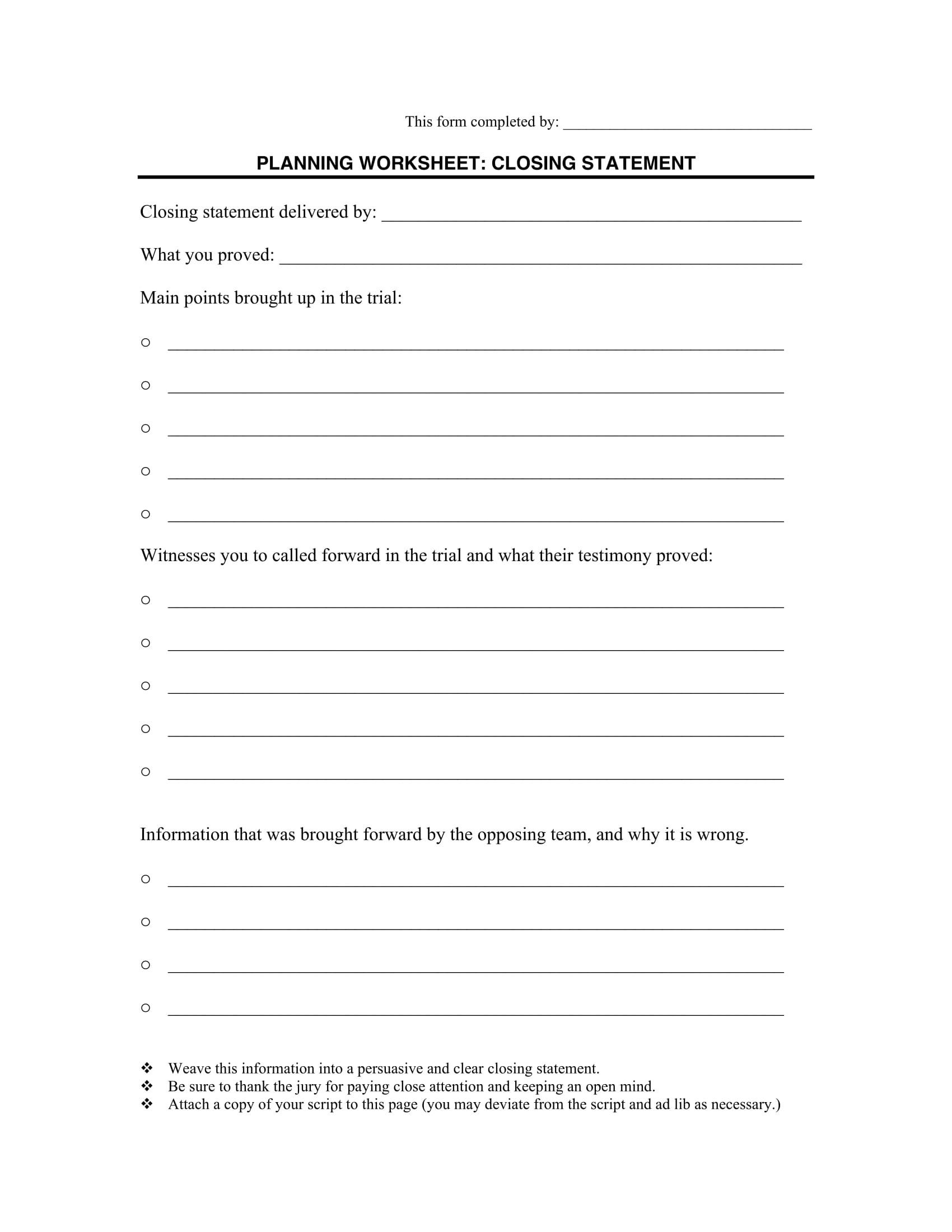 14 Closing Statement Forms