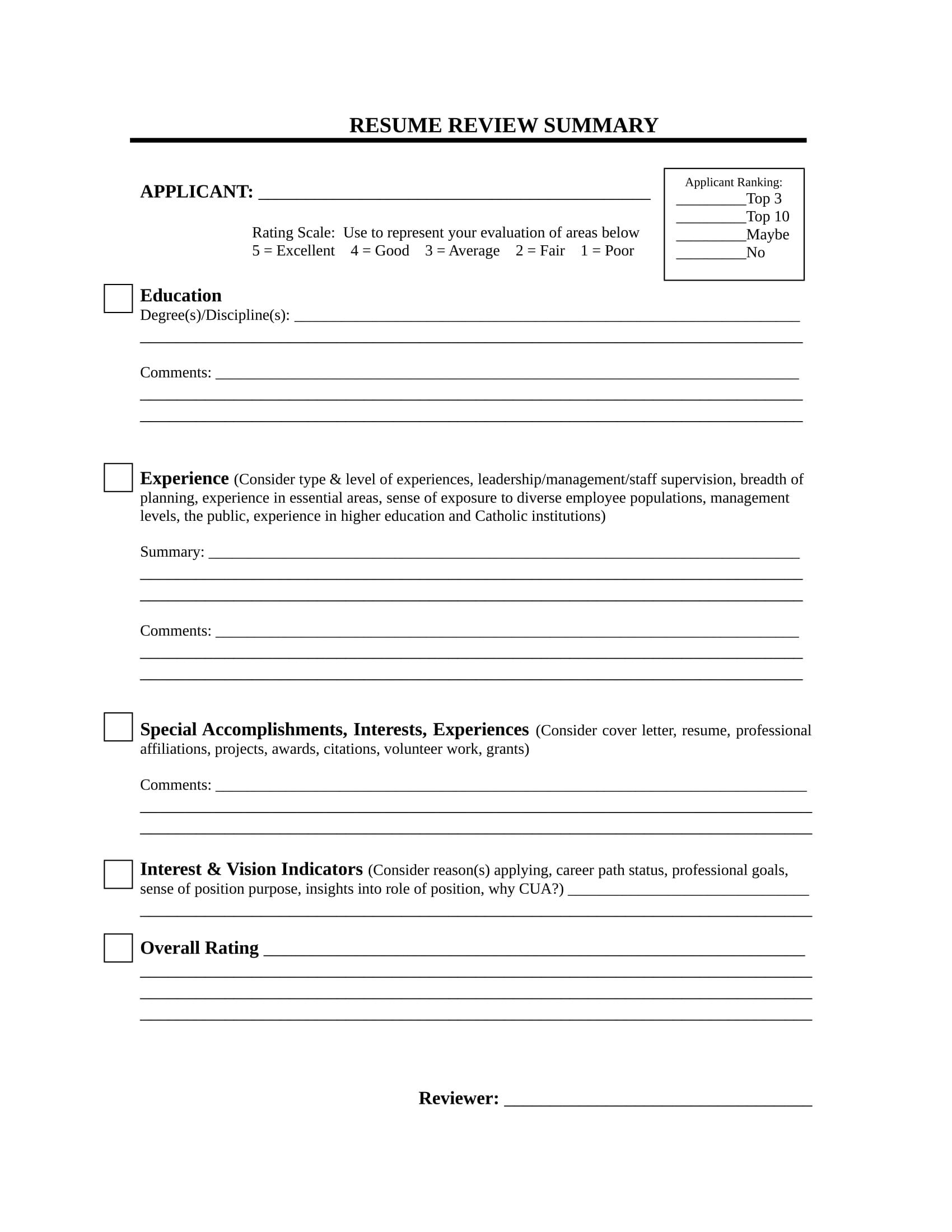 resume peer review checklist
