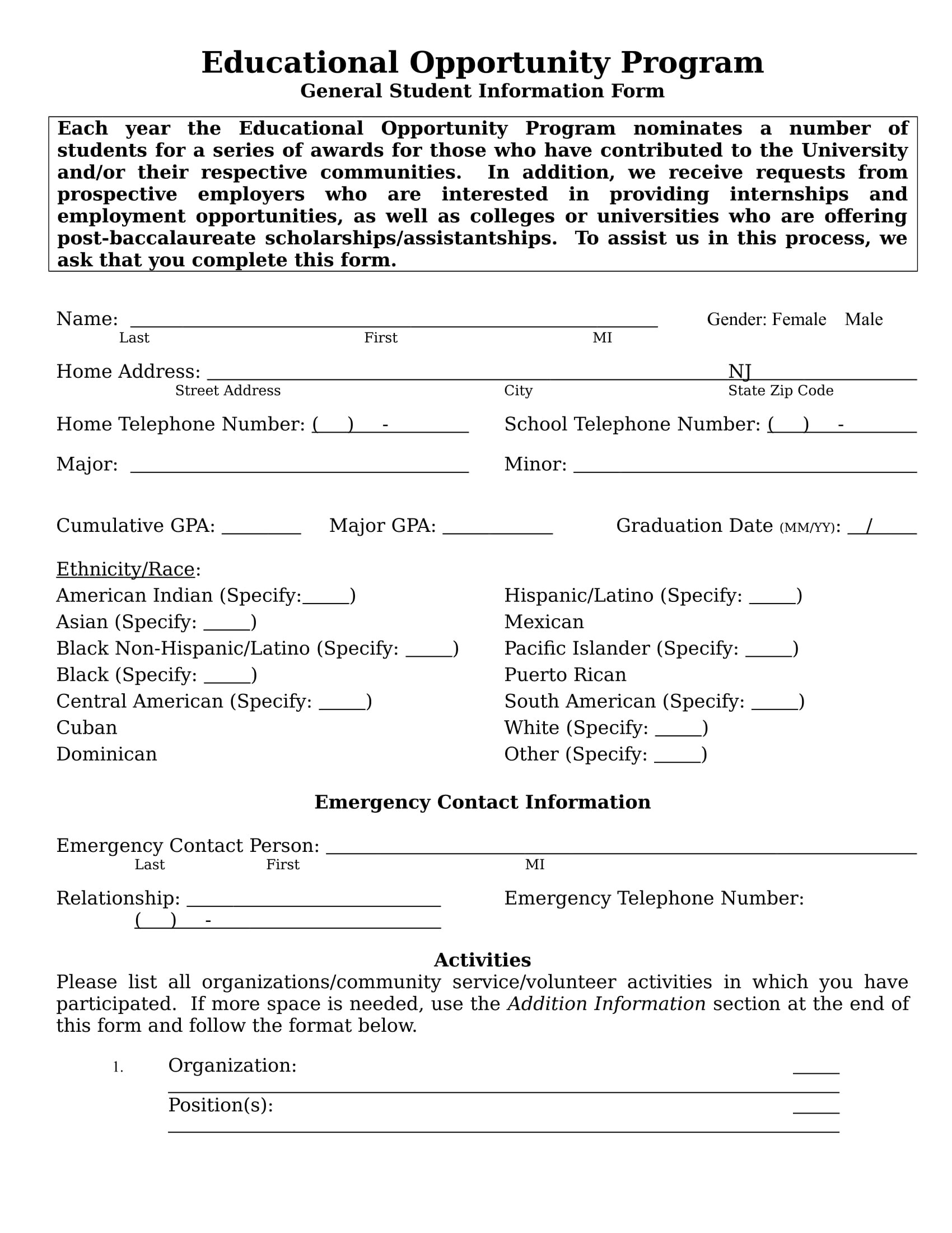 14 Student Information Forms