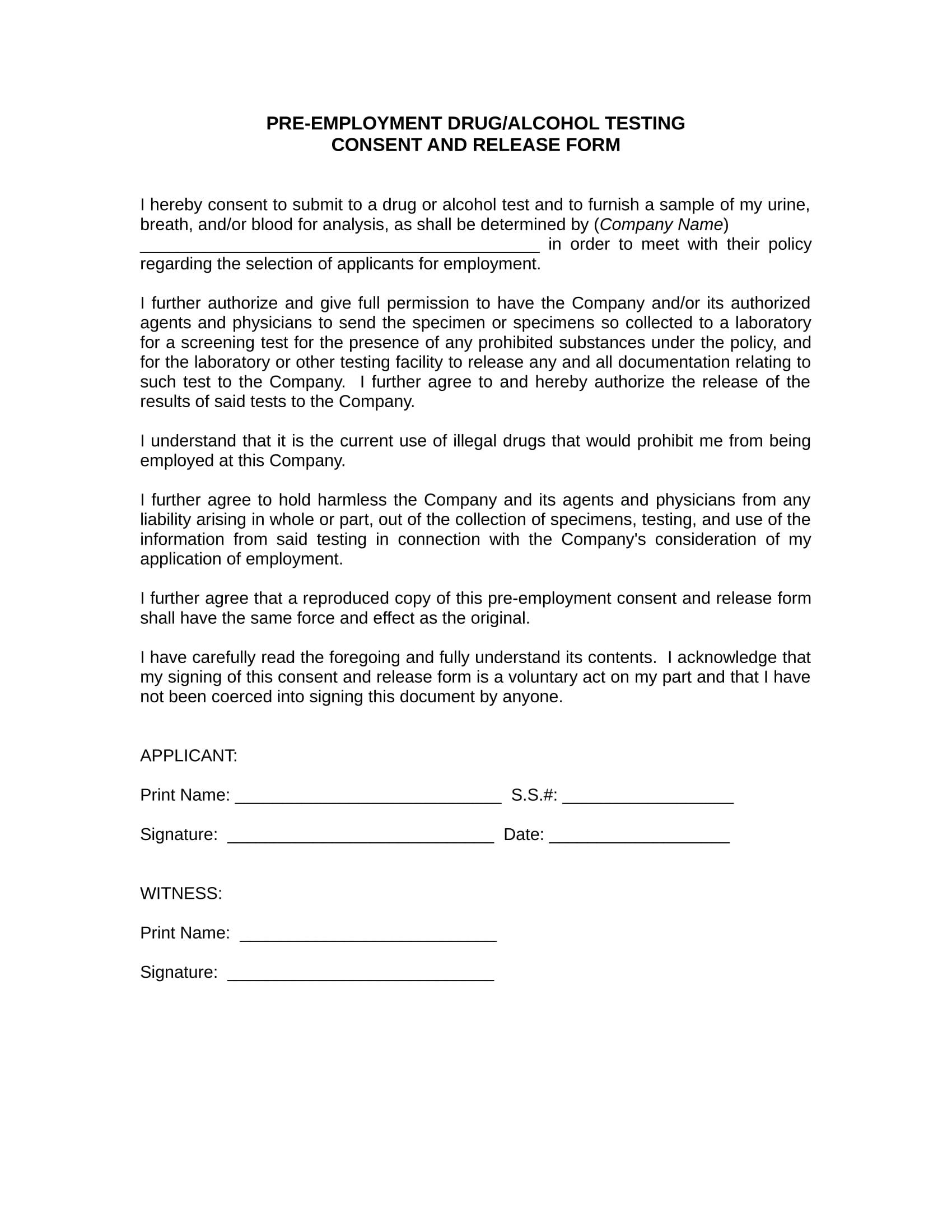 Pre Employment Drug Test Consent Form 1