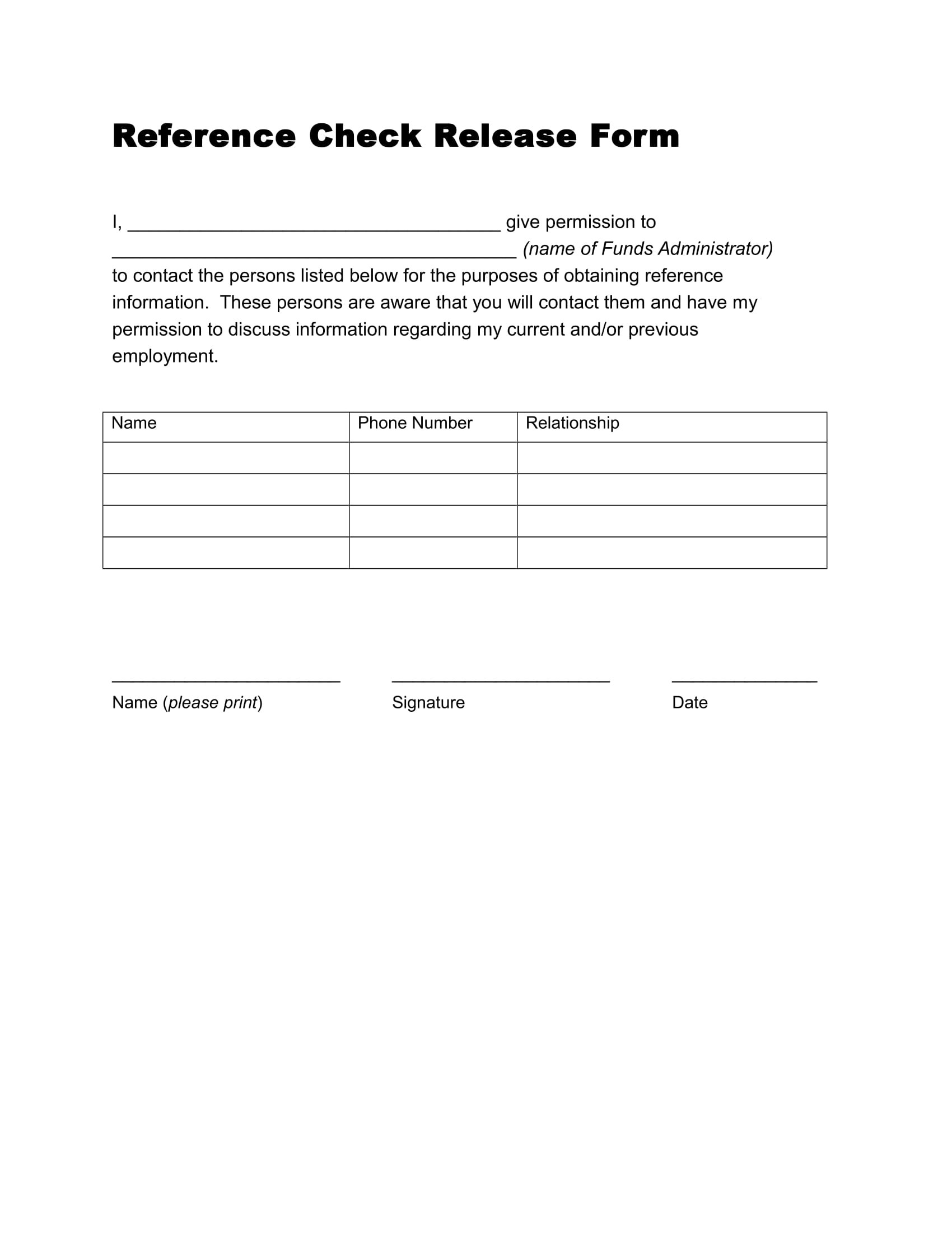 14 Reference Request And Release Forms