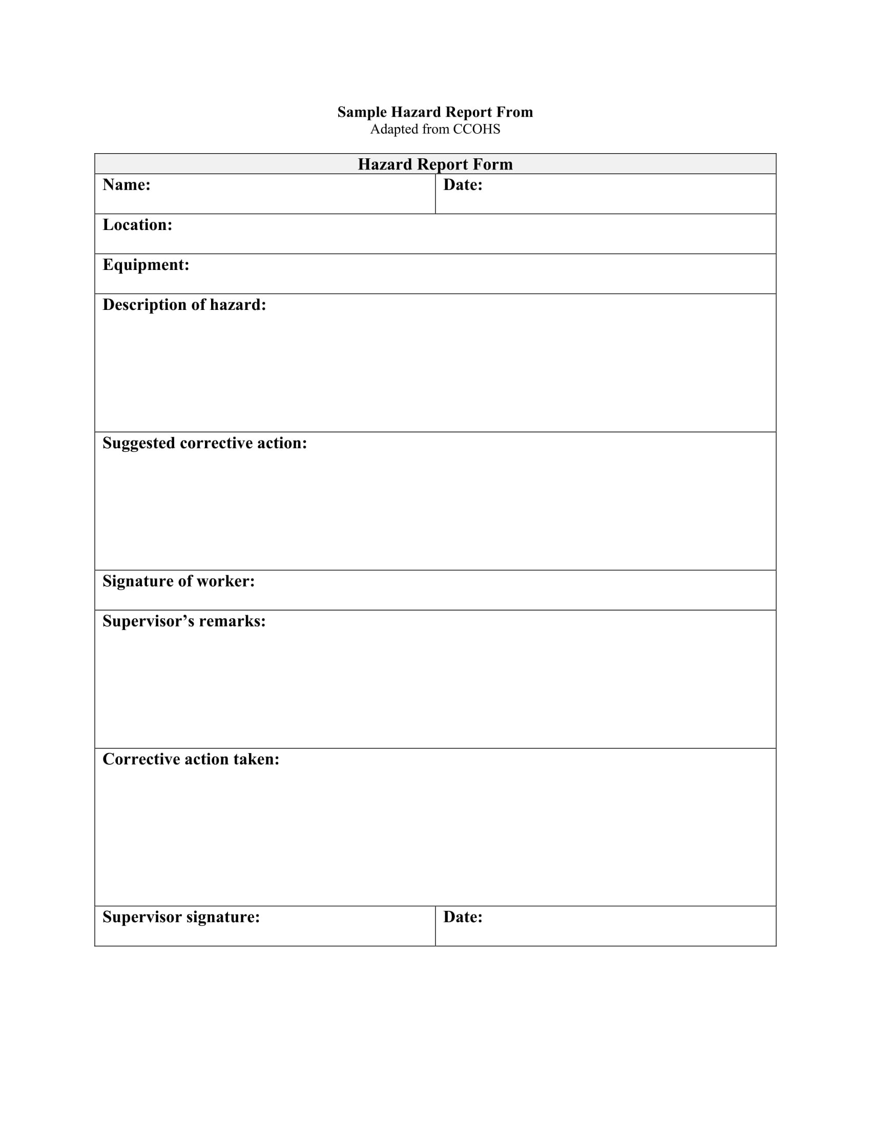 Free 13 Hazard Report Forms In Ms Word