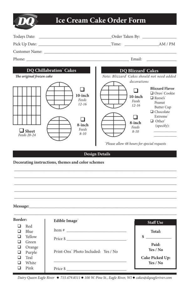 14 Cake Order Forms Free Excel PDF Format