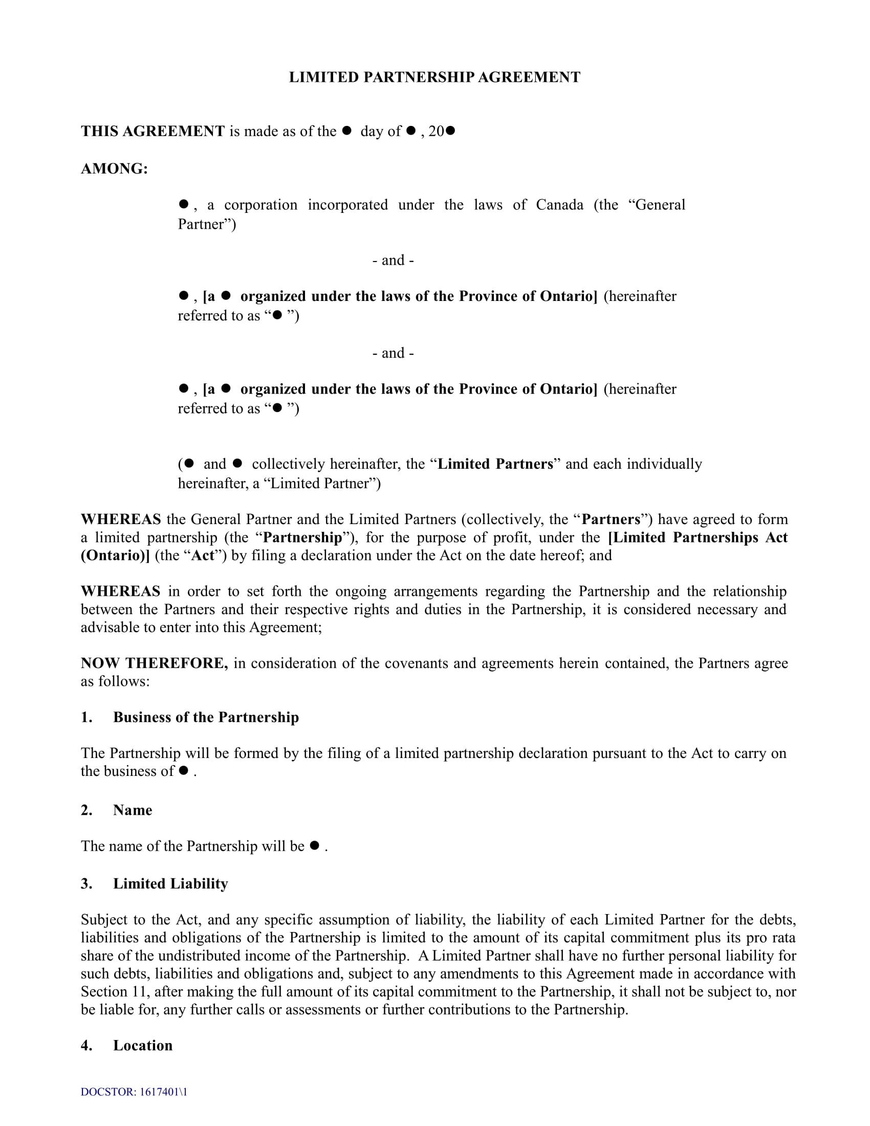 This template might be used by a small business (or professional services firm) requiring a simple llp structure. Free 4 Limited Partnership Agreement Long Forms In Pdf Ms Word