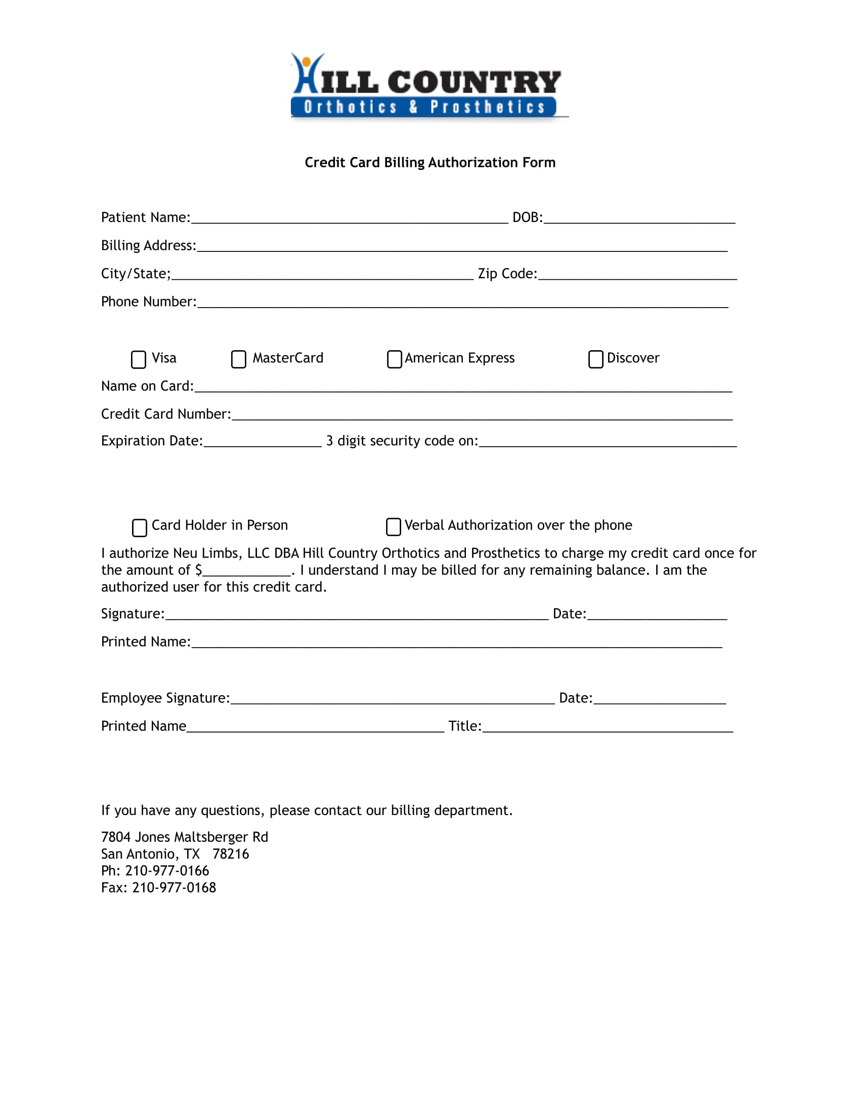 4+ Credit Card Billing Authorization Forms - PDF