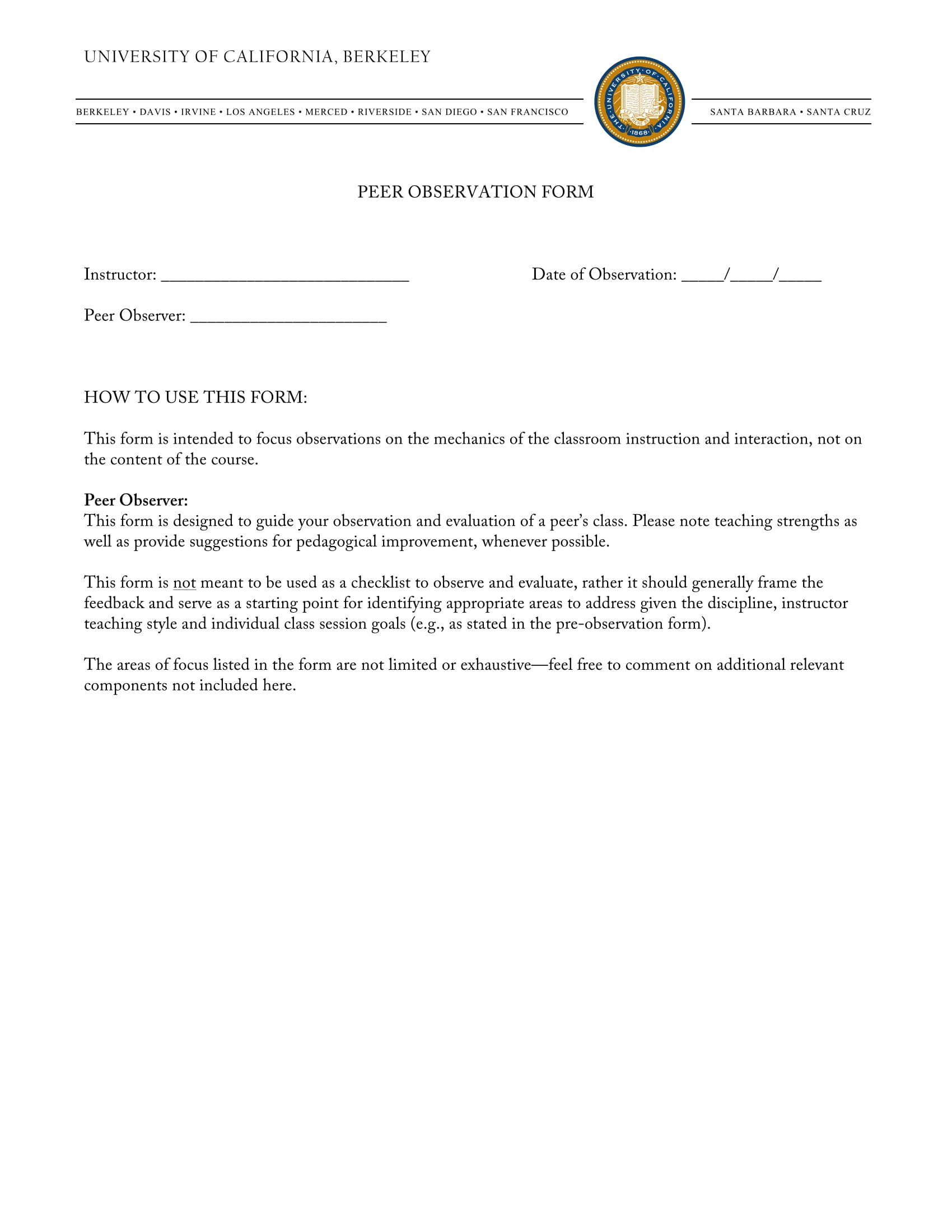 Peer Observation Form Sample