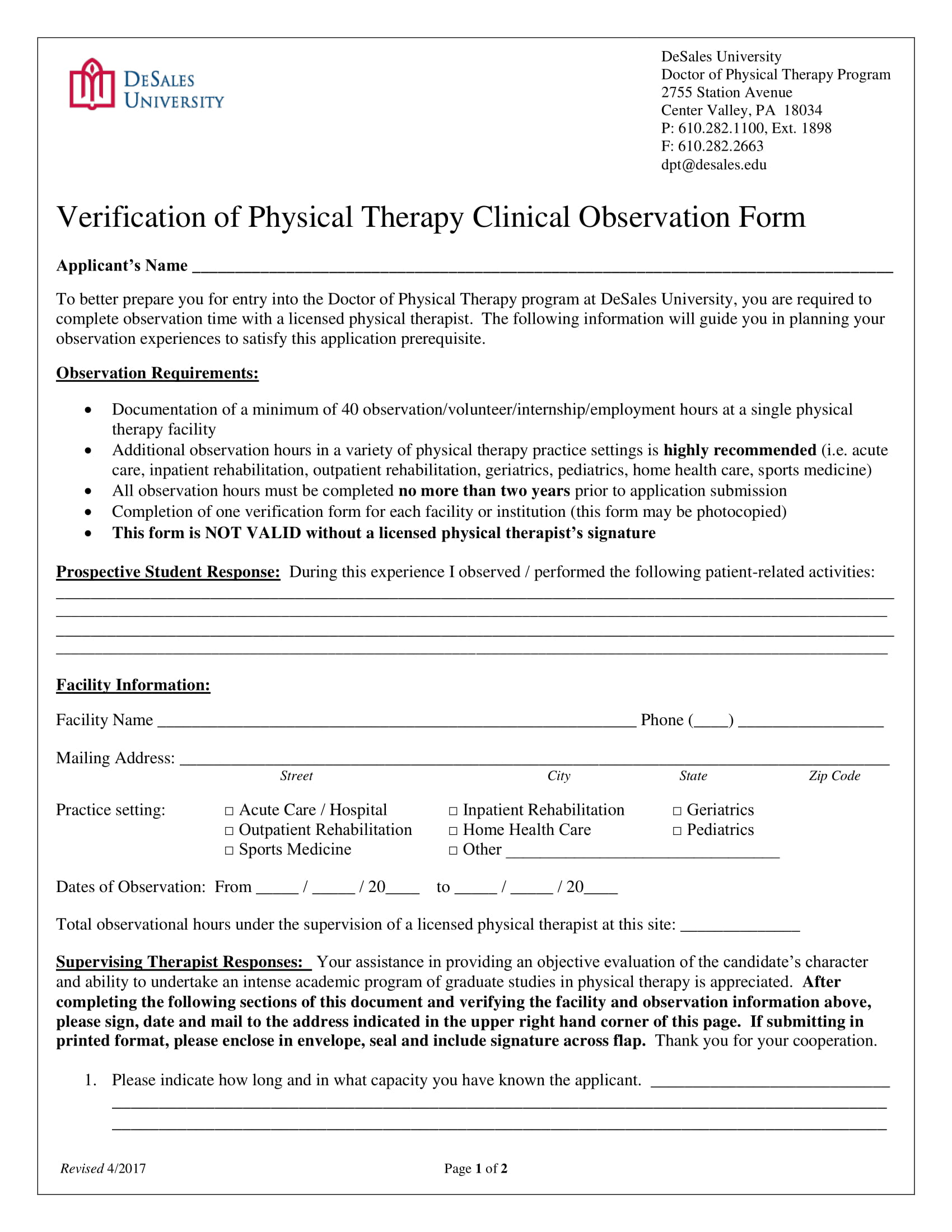 Physical Therapy Observation Hours Form