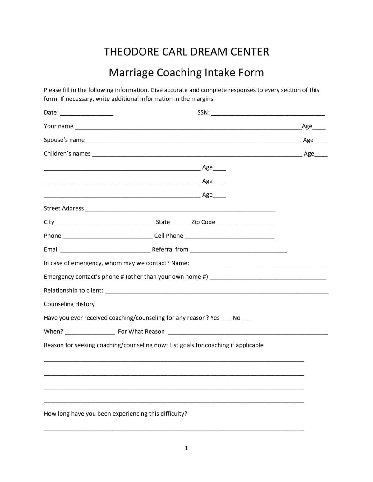 FREE 10+ Coaching Intake Forms in PDF   MS Word