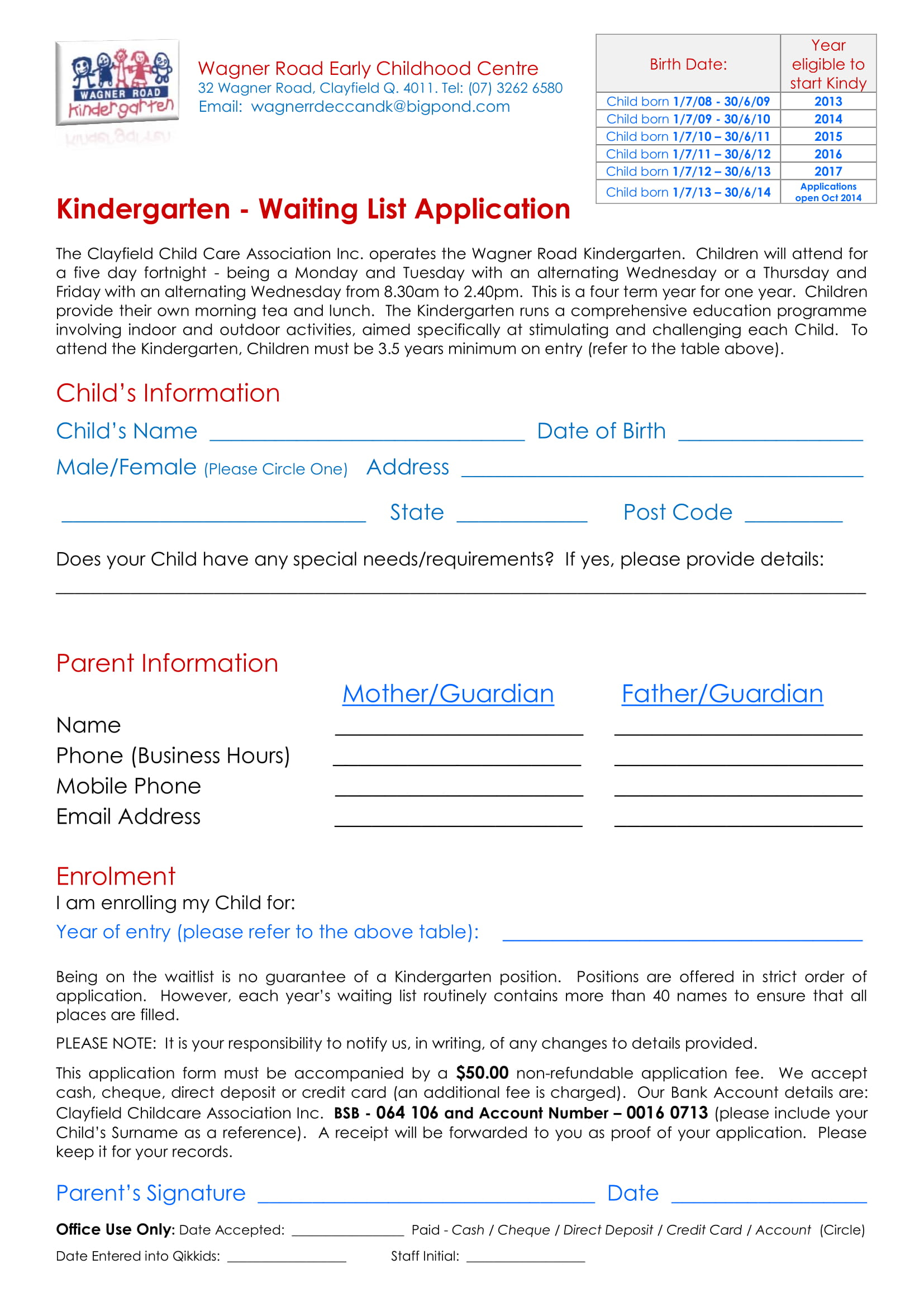 Free 24 Waiting List Forms In