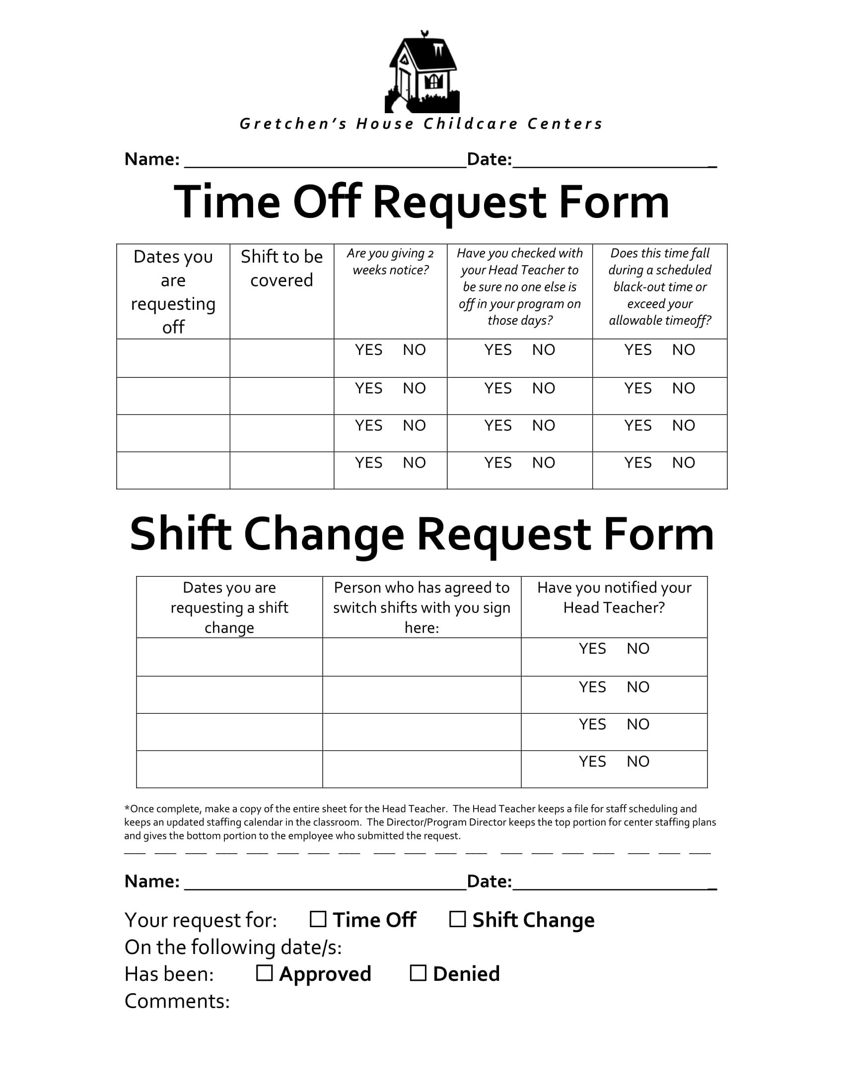 template for time off request