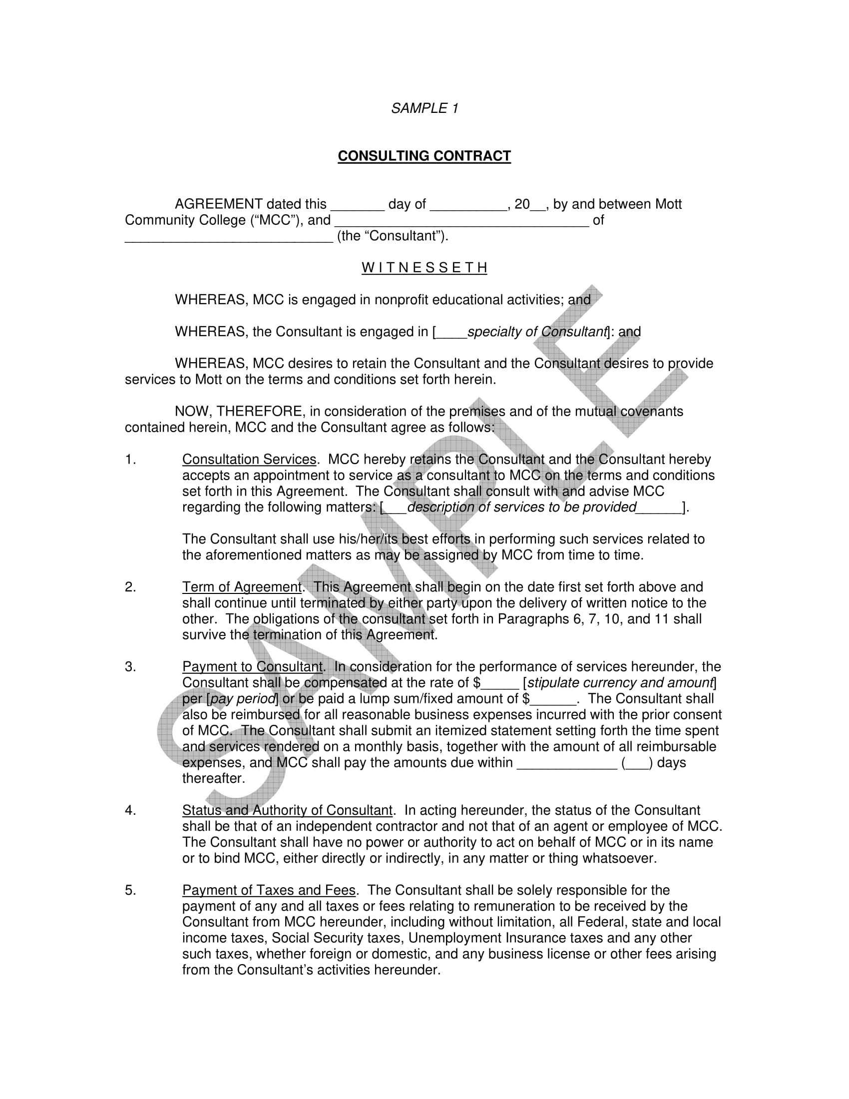 8+ Consulting Contract Forms - PDF, DOC