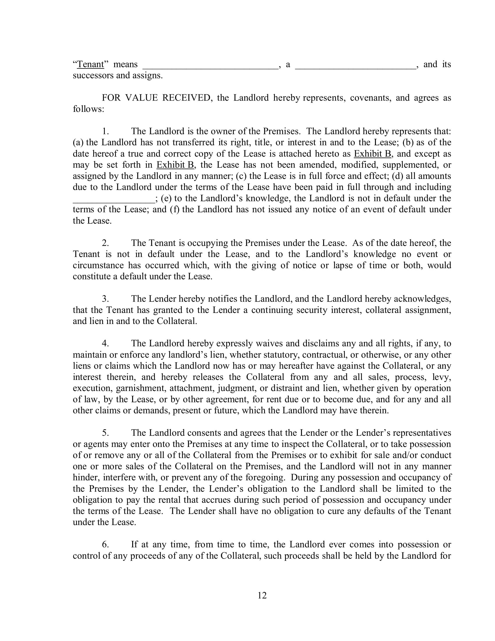 Landlord Subordination Agreement Contract Form