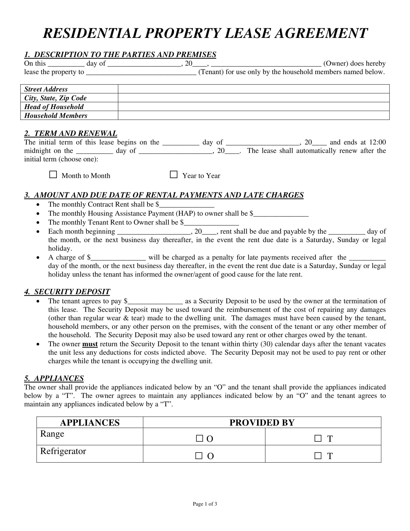 Residential Property Lease Agreement Contract Form 1