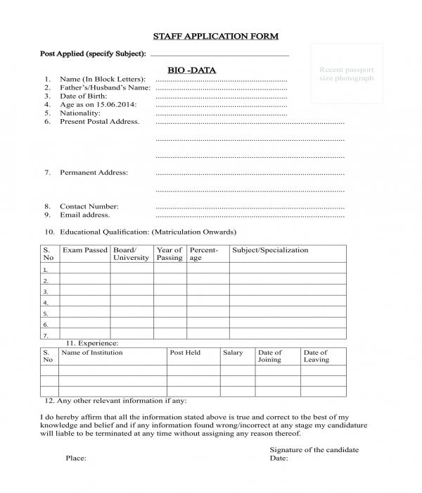 form of biodata