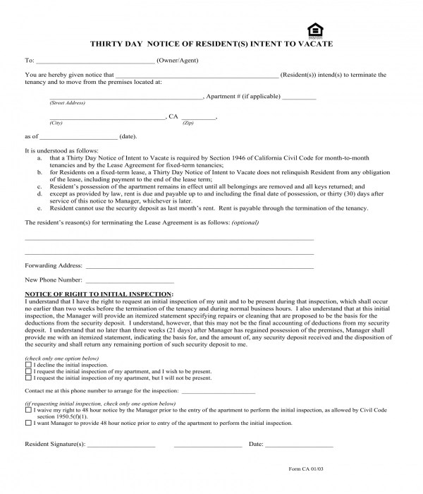 30 Day Notice To Vacate Forms In Pdf