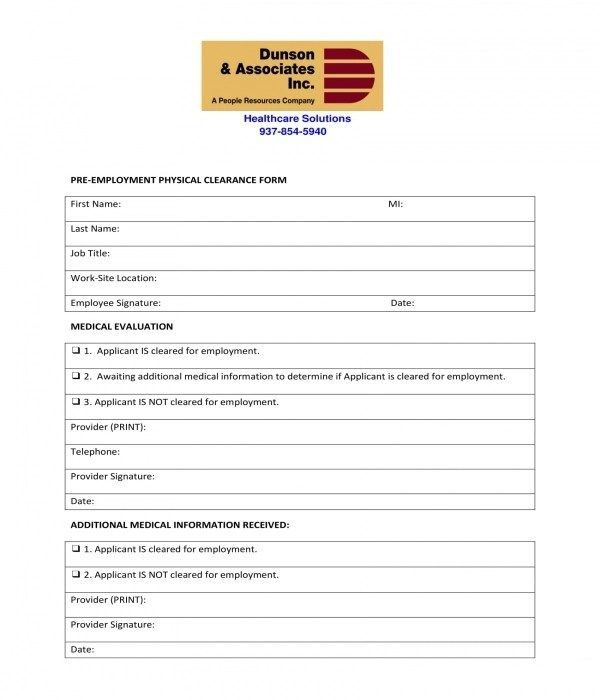 FREE 10+ Generic Pre-Employment Physical Forms in PDF