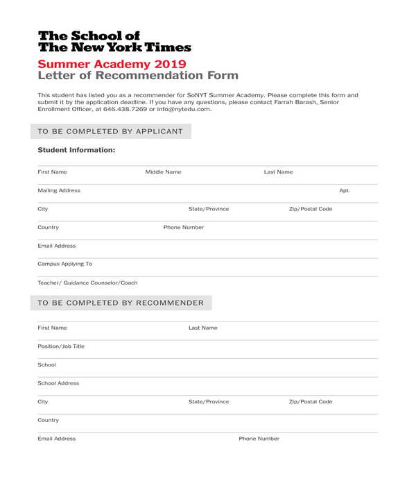 FREE 7+ Professional Letter of Recommendation Forms in PDF