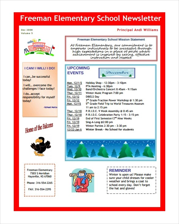 Sample School Newsletter Template 15 Download Documents