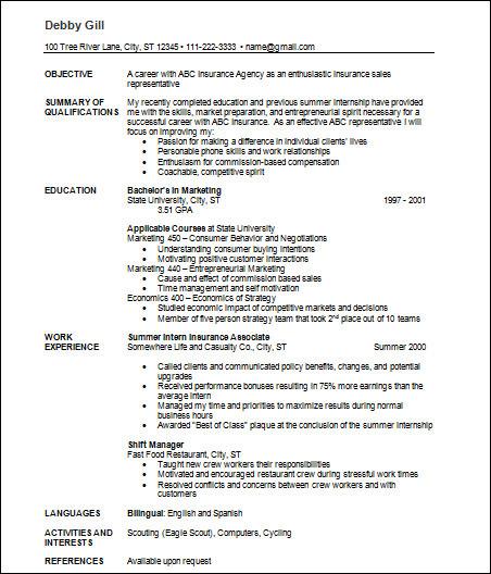 free sample resume insurance agent
