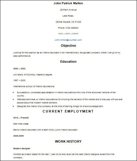 free sample form of resume