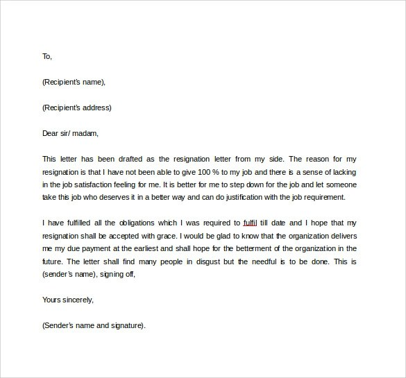 Formal Resignation Letter Format Pdf | Docoments Ojazlink