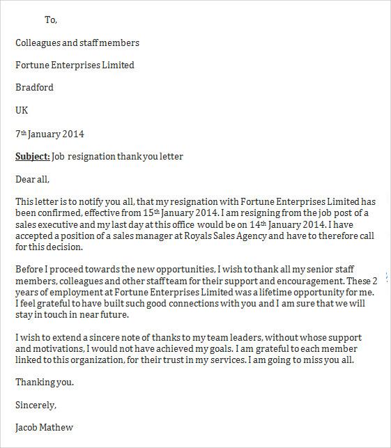 Sample Job Resignation Letter Template 14 Free Documents