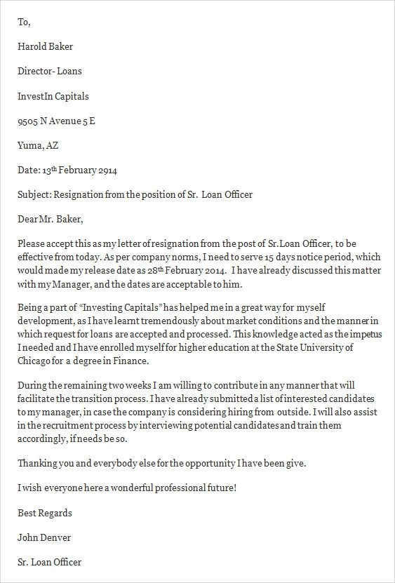 Sample Job Resignation Letter Template 14 Free Documents in Word PDF