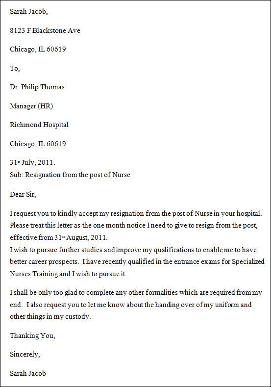 Resignation Letter Health