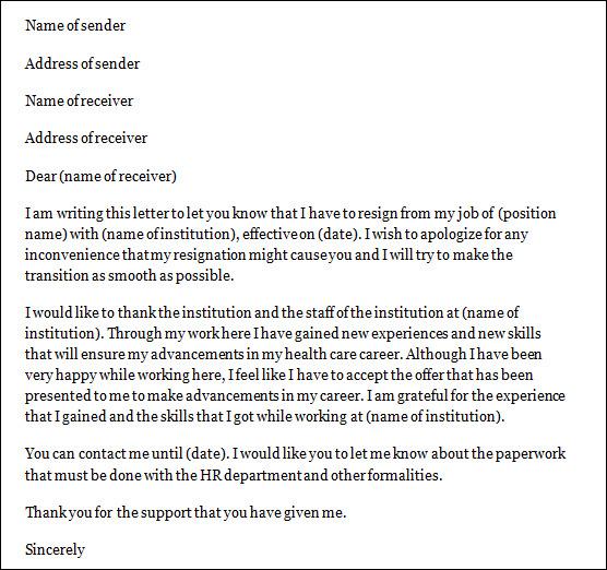 9 Nursing Resignation Letters DOC PDF