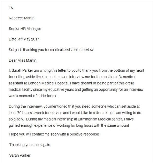 Sample Thank You Letter After Interview  15 Free