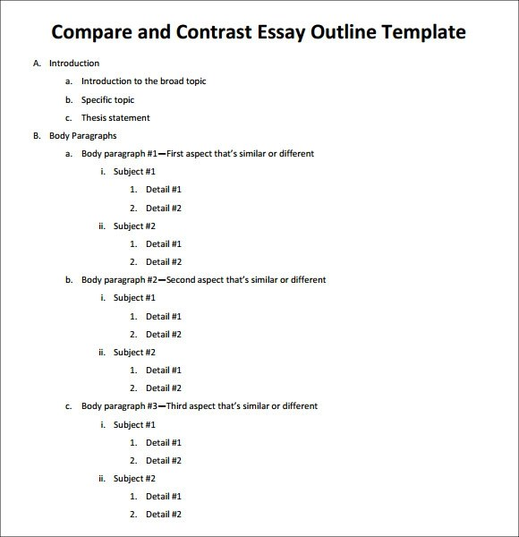 Comparison Research Paper Outline Example Comparison Contrast Essay Example Paper Writing A Comparison Essay