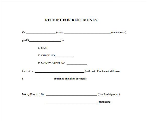 Monthly Rental Receipt Form