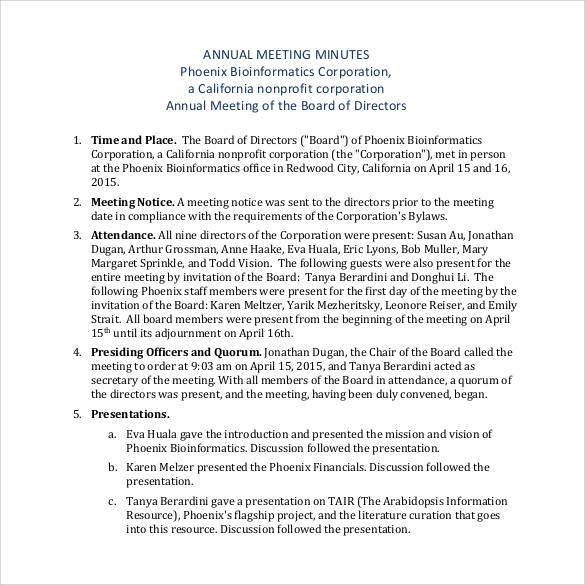 Sample nonprofit board meeting minutes. Free 44 Sample Meeting Minutes Templates In Google Docs Ms Word Pages Pdf