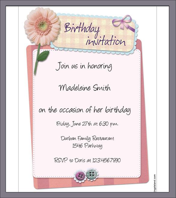birthday invitation letter template