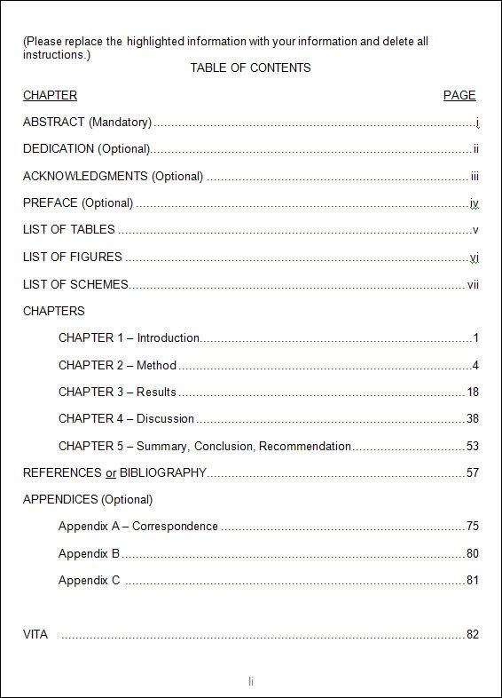 table of contents format doc