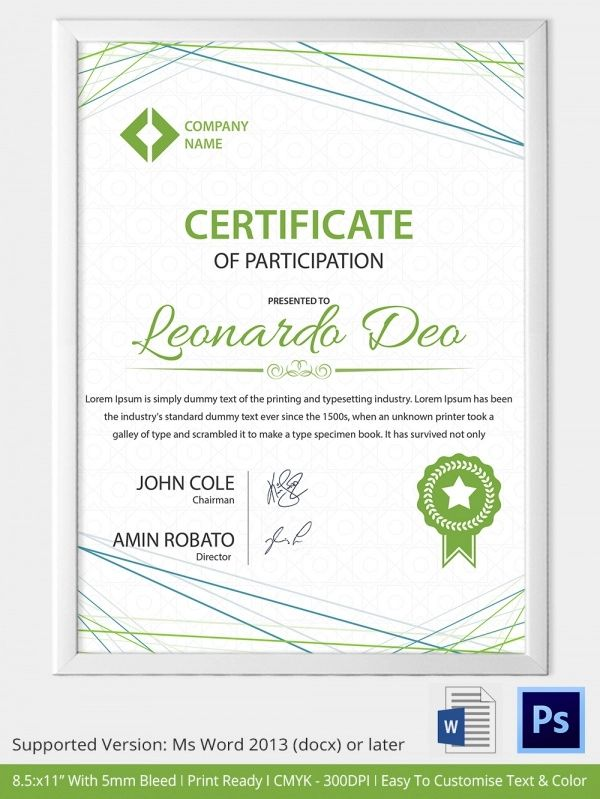 word award certificate template